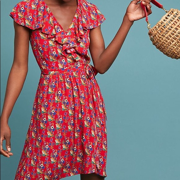 568159c4997 NWT Maeve Rosalia Red Floral Wrap Dress Anthro 14
